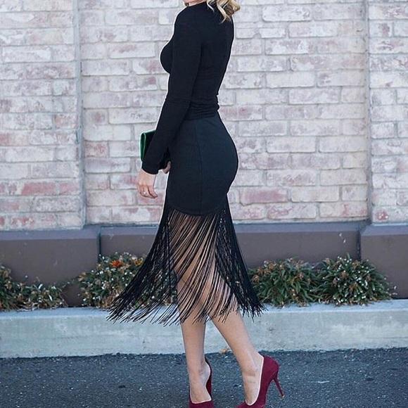 15502ad35ad7 Karina Grimaldi Skirts   Fitted Mini W Long Fringe Skirtm   Poshmark